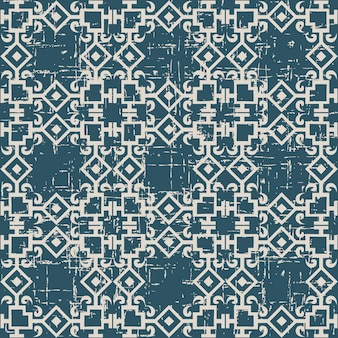 Worn out antique seamless pattern with square chain