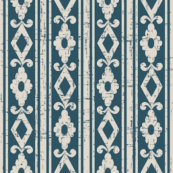 스퀘어 플라워 라인으로 낡은 골동품 원활한 패턴