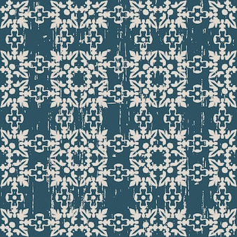 Worn out antique seamless pattern with square leaf flower chain