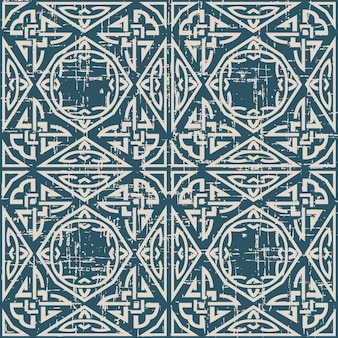 Worn out antique seamless pattern with triangle polygon aboriginal chain