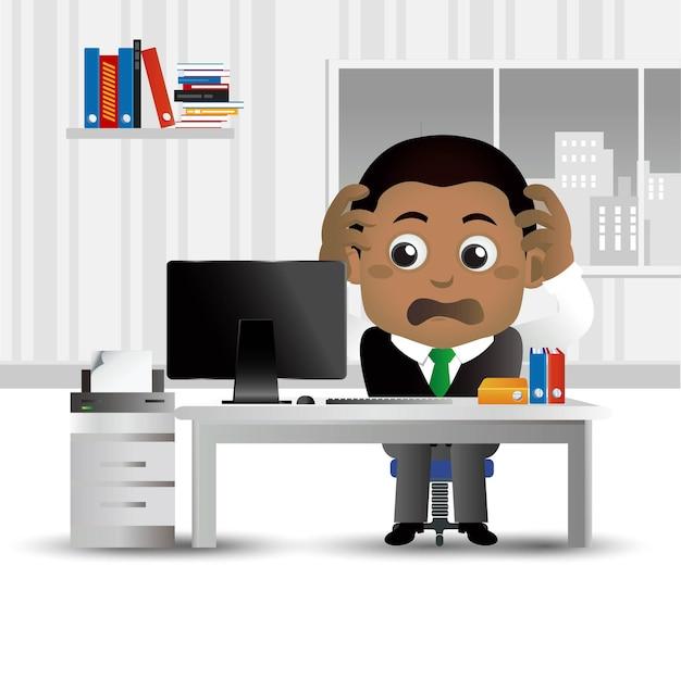 Обеспокоенный бизнесмен в офисе
