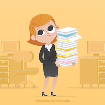 Worried businesswoman with lots of documents