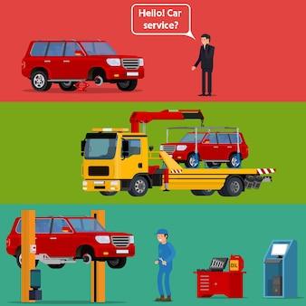 Обеспокоенный водитель вызывает помощь на дороге, чтобы помочь с его неисправной машиной.
