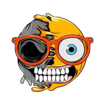 Смайлик с обеспокоенным лицом и очками меняется на смайлик с обеспокоенным черепом смерти