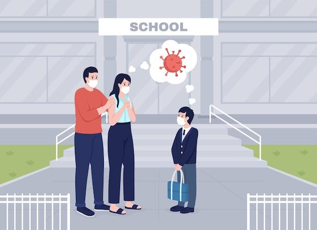 心配している両親は、フラットな色のベクトル図のレッスンに息子を見送ります。フェイスマスクの人々のグループ。背景に校舎があるパンデミック2d漫画のキャラクターを心配しているママとパパ