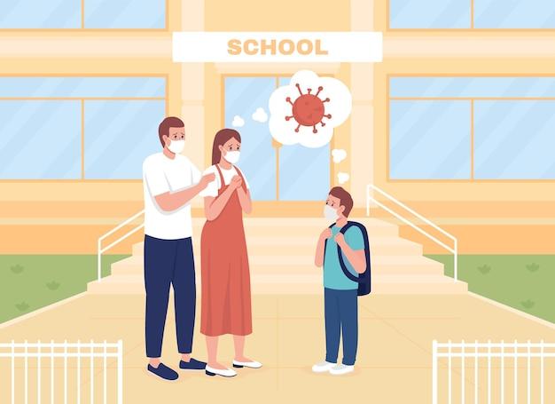Обеспокоенные родители провожают сына на уроки плоские цветные векторные иллюстрации