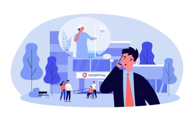 Обеспокоенный сын звонит пожилой матери в больницу. бизнесмен, стоящий за пределами медицинского центра плоской векторной иллюстрации. здравоохранение, концепция медицины для баннера, дизайна веб-сайта или целевой веб-страницы