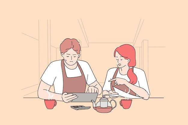 걱정되는 여성과 남성 소유자는 빈 식당에 앉아 코로나 바이러스 대유행 위기 기간 동안 재정을 계산합니다.