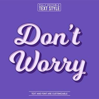 Don't worry cartoon 3d vintage purple text effect