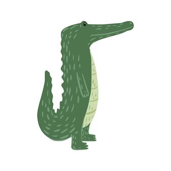 Стоит крокодил, изолированные на белом фоне. забавный мультяшный персонаж дикой природы в каракули векторные иллюстрации.