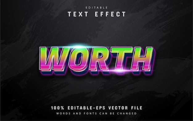 Worth text, 3d gradient style text effect