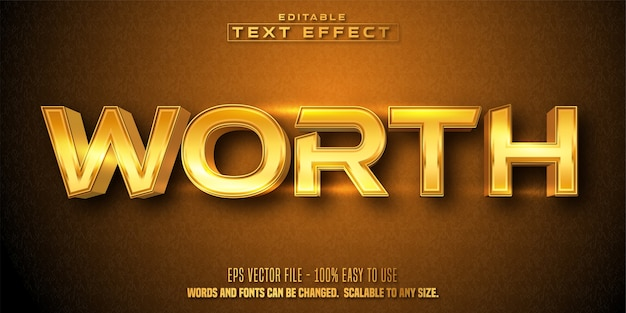 Worth text, golden style editable text effect