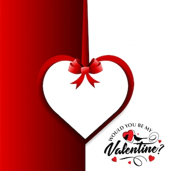 Would you be my valentine's card with red and white background