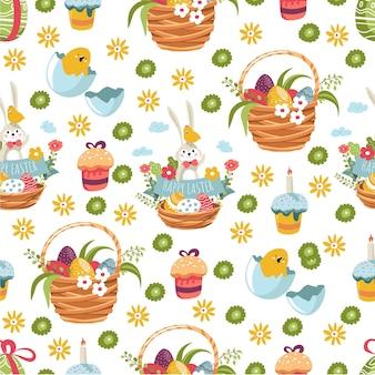 イースター休暇のお祝いのシームレスなパターンのために集められた食べ物と花の編まれたバスケット