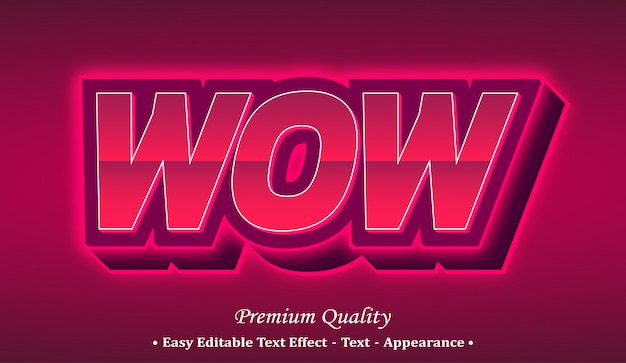 Wow 3d font style effect