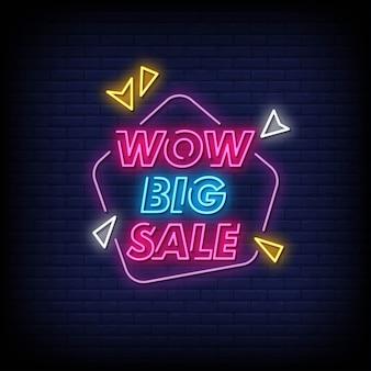 Wow big sale неоновые вывески стиль текста