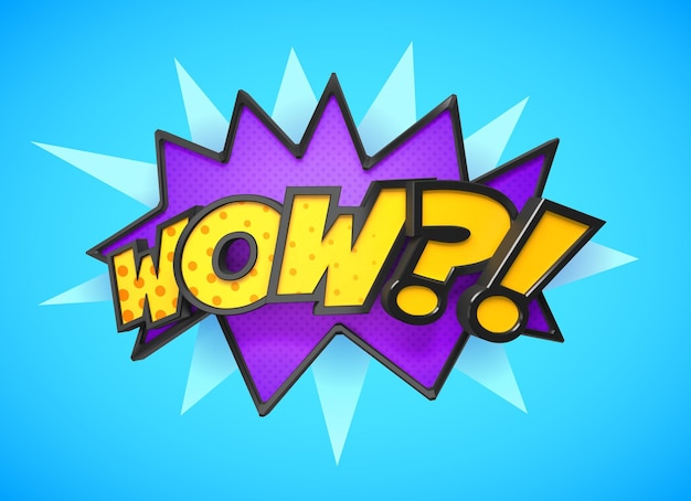Wow - comic book, cartoon expression pop art