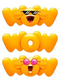 Wow emoji icon set с желтым символом смайлика. 3d мультяшном стиле.