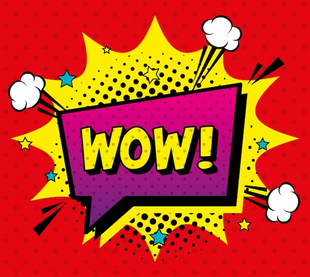Wow expression sign pop art style