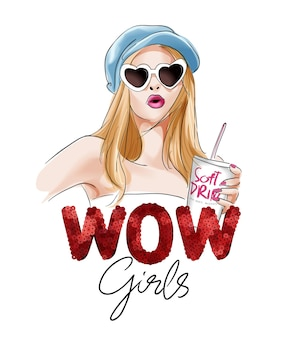 すごい女の子のスパンコールのスローガンとサングラスのイラストで手描きの女の子