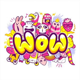 Wow lettering with cartoon monsters