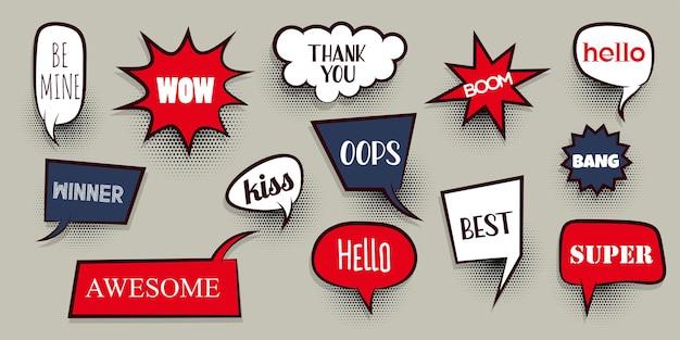 Вау, любовь, xoxo, bang, бум, победа, эй, набор, комическая речь, пузырь, текст, мультяшное выражение