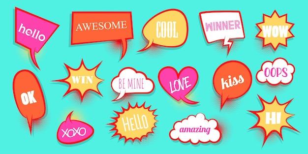 Вау, любовь, xoxo, bang, бум, победа, эй, набор, комическая речь, пузырь, слово, мультяшное выражение