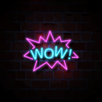 Wow neon sign illustration