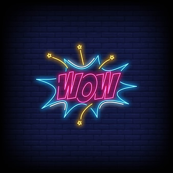 Wow neon sign text.