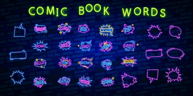 Wow neon sign with comic speech bubble with expression text