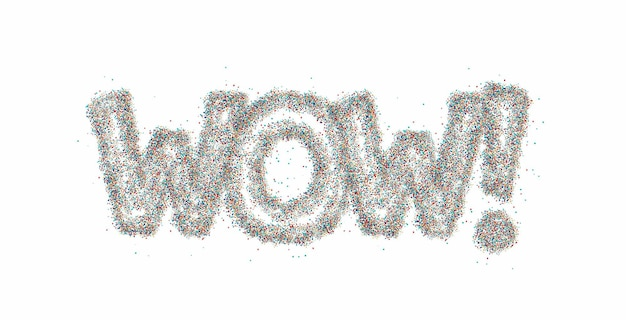 Wow! particle calligraphic flat style text vector illustration design.