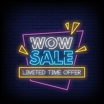 Wow sale neon signs style text vector