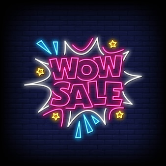 Wow sale neon signs style text
