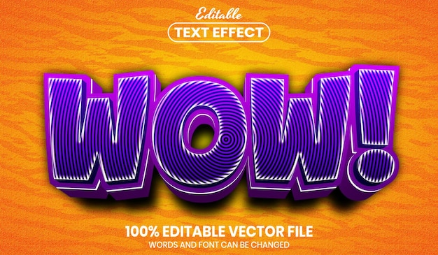 Wow text, font style editable text effect