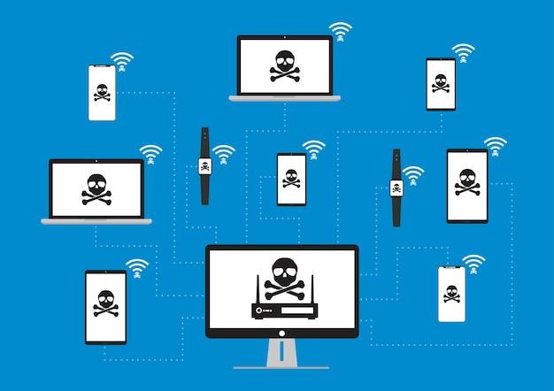 와이파이 사이버 보안 인포 그래픽 개념에 wpa2 krack.