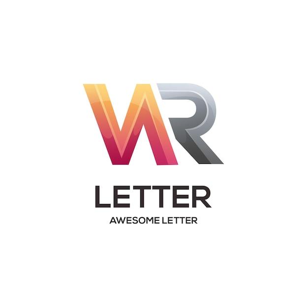 Wr文字ロゴイニシャルカラフルなグラデーション抽象