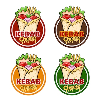 Wrap kebab cheese and ingredients for kebab
