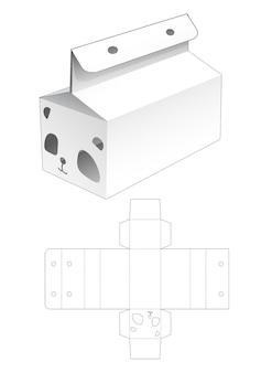 パンダの顔の形をしたウィンドウダイカットテンプレートで包まれたボックスとリボンの穴
