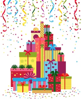 包まれたプレゼントやギフトボックスのスタック。カラフルな紙に包まれ、リボンで結ばれた贈り物の山。
