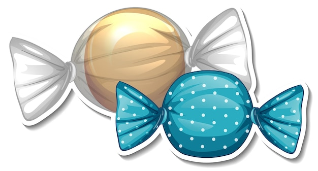 Wrapped sweet candies sticker on white background