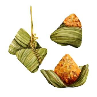 용 보트의 zongzi 수채화 포장