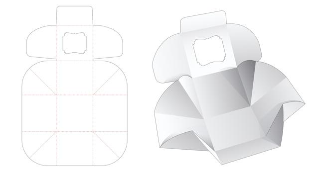 상단 창 다이 컷 템플릿으로 큐브 상자 포장