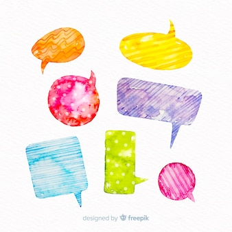 Wrapping paper design on watercolour speech bubbles