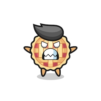 Wrathful expression of the apple pie mascot character , cute style design for t shirt, sticker, logo element
