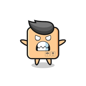 Wrathful expression of the cardboard box mascot character , cute style design for t shirt, sticker, logo element