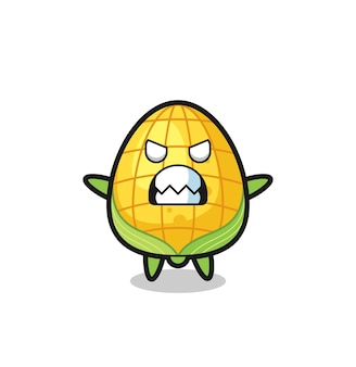 Wrathful expression of the corn mascot character , cute style design for t shirt, sticker, logo element