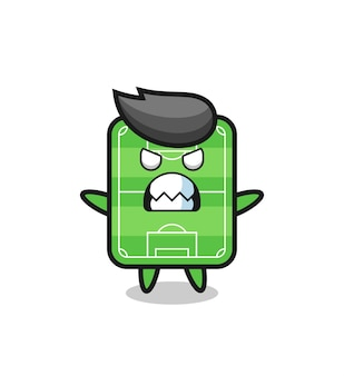 Wrathful expression of the football field mascot character , cute style design for t shirt, sticker, logo element
