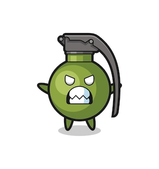 Wrathful expression of the grenade mascot character , cute style design for t shirt, sticker, logo element