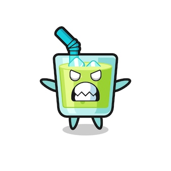 Wrathful expression of the melon juice mascot character , cute style design for t shirt, sticker, logo element