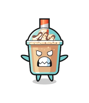 Wrathful expression of the milkshake mascot character , cute style design for t shirt, sticker, logo element